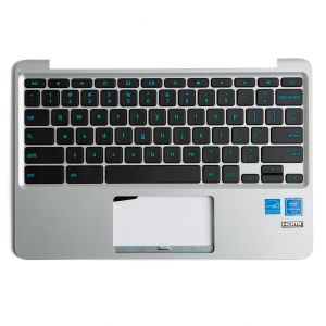 Palmrest with Keyboard (OEM PULL) for Asus Chromebook 11 C202SA - Silver