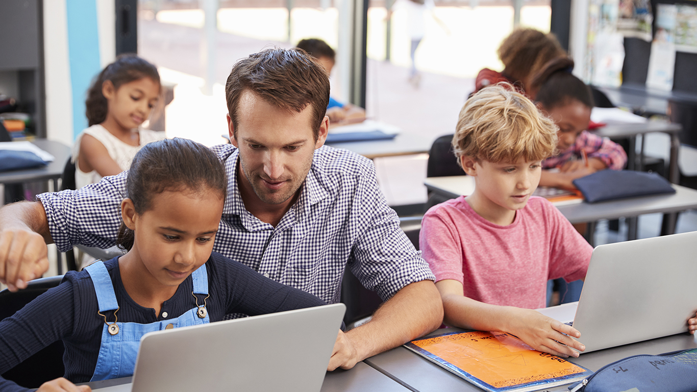 Teacher talking to students who are using Chromebooks in the classroom
